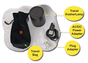 Here's what comes with your Travel KosherLamp