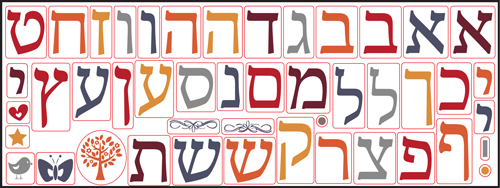 Sheet of Aleph Bet Decals